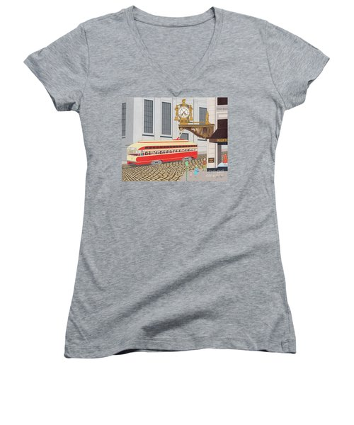 Women's V-Neck featuring the drawing Kaufmann Clock by John Wiegand