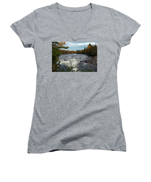 Women's V-Neck featuring the photograph Kennebec River by Rick Hartigan