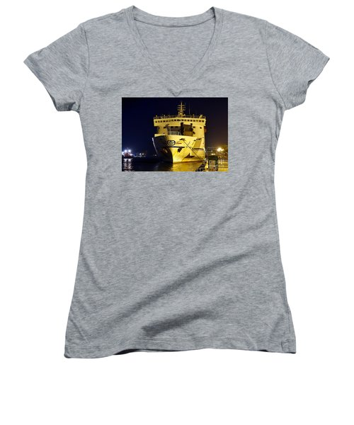 Large Ferry Docked In Port By Night Women's V-Neck