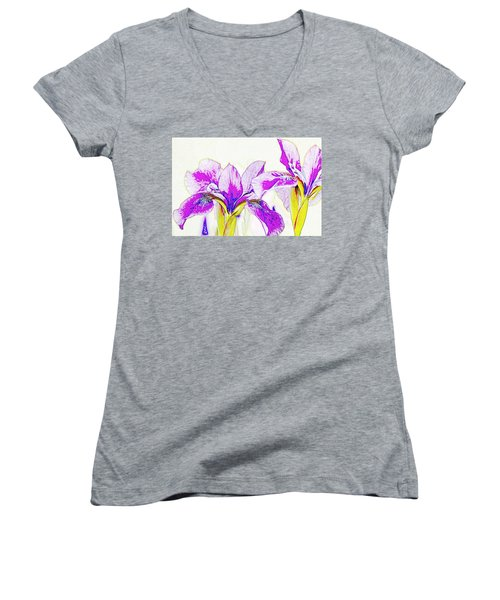 Lavender Irises Women's V-Neck