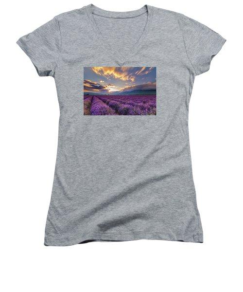 Lavender Sun Women's V-Neck