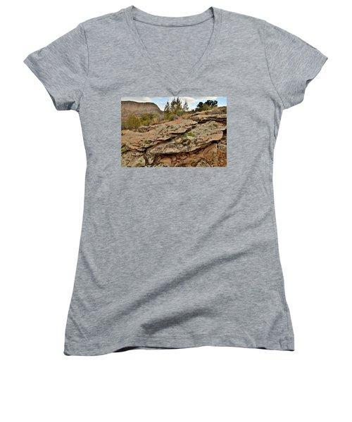 Lichen Covered Ledge In Colorado National Monument Women's V-Neck