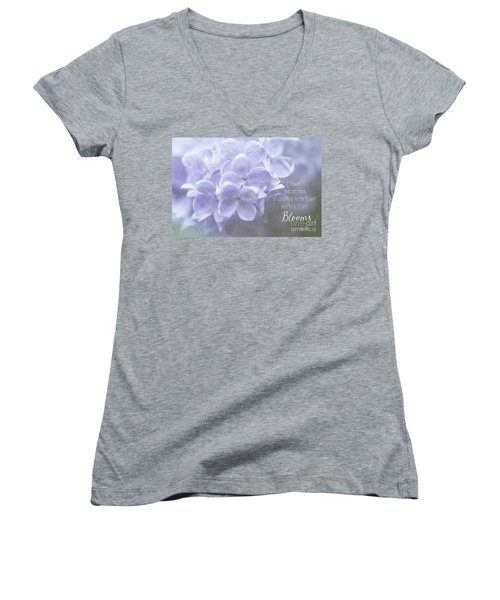 Lilac Blooms With Quote Women's V-Neck