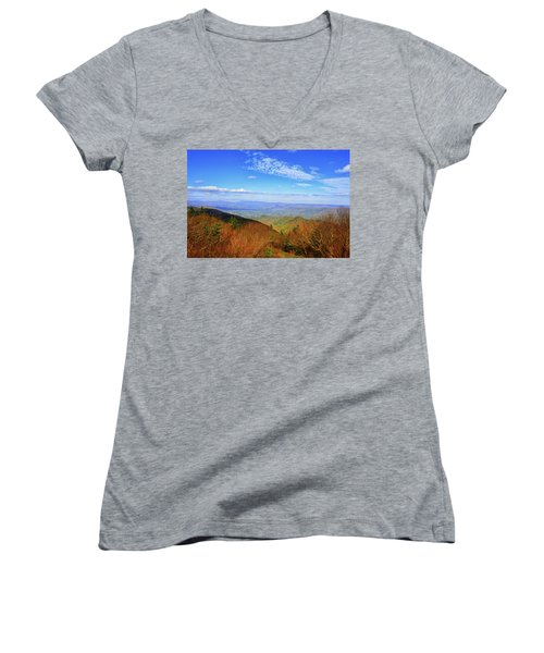 Women's V-Neck (Athletic Fit) featuring the photograph Looking Towards Vermont And New Hampshire by Raymond Salani III