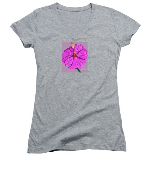 Lovely Pink Hibiscus Women's V-Neck