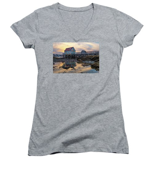 Low Tide Reflections, Badgers Island.  Women's V-Neck