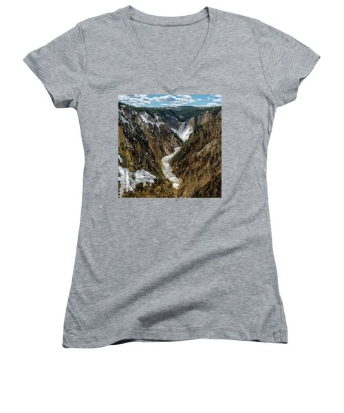 Women's V-Neck featuring the photograph Lower Falls In Yellowstone by Scott Read