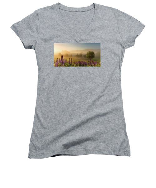 Lupine In The Fog, Sugar Hill, Nh Women's V-Neck