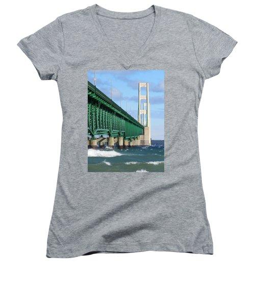 Mackinac Bridge And Waves Women's V-Neck