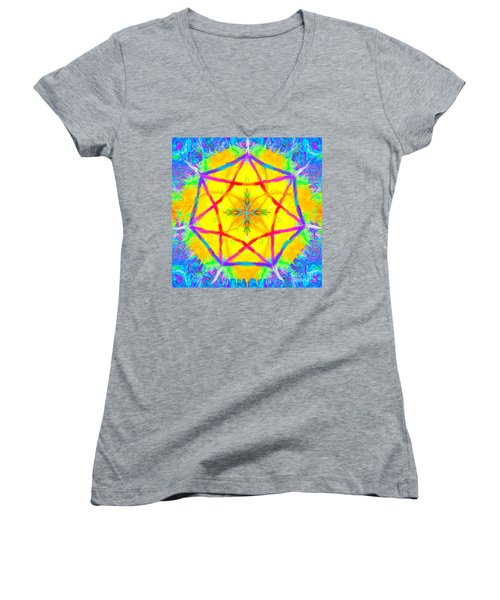 Women's V-Neck featuring the painting Mandala 12 9 2018 by Hidden Mountain