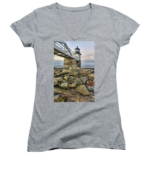 Marshall Point Light From The Rocks Women's V-Neck