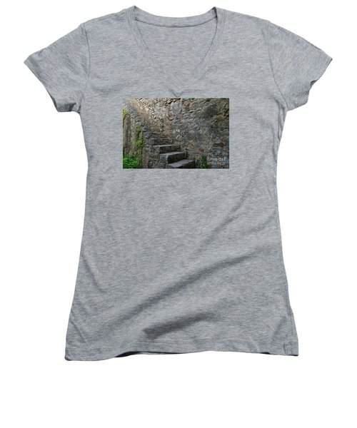 Medieval Wall Staircase Women's V-Neck