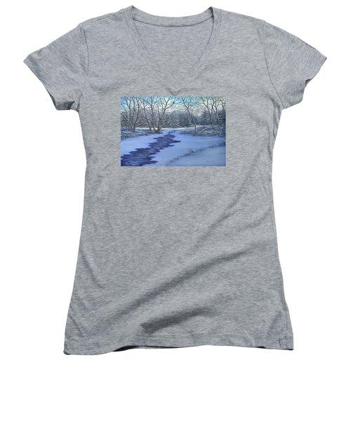 Millhaven Creek In Winter Women's V-Neck