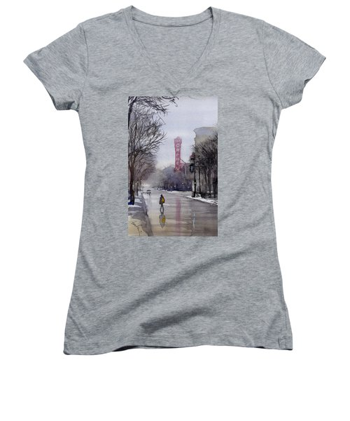 Misty Morning On Stae Street Women's V-Neck