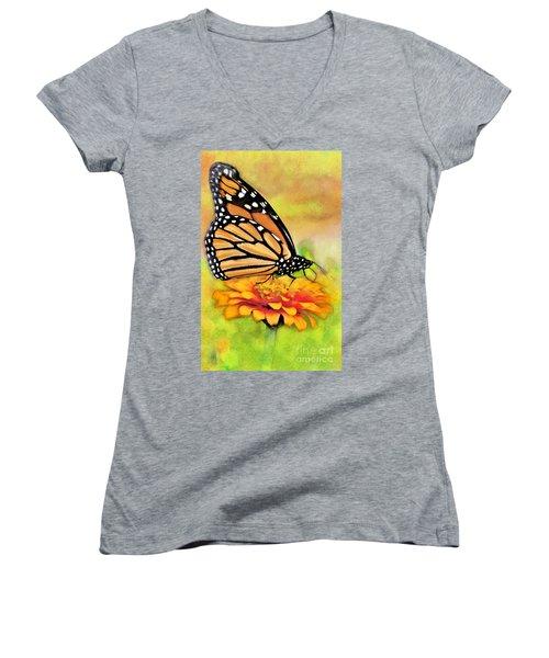 Monarch Butterfly On Flower Women's V-Neck