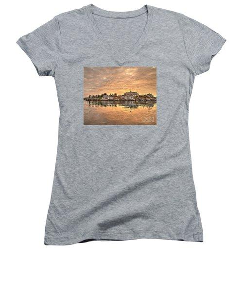 Monhegan Sunrise - Harbor View Women's V-Neck