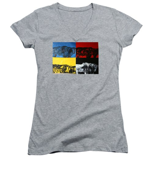 Mooving Out Of Our Land Women's V-Neck