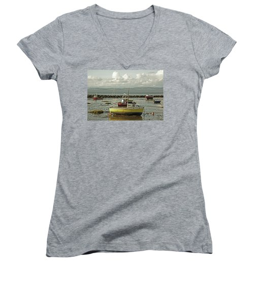 Morecambe. Boats On The Shore. Women's V-Neck