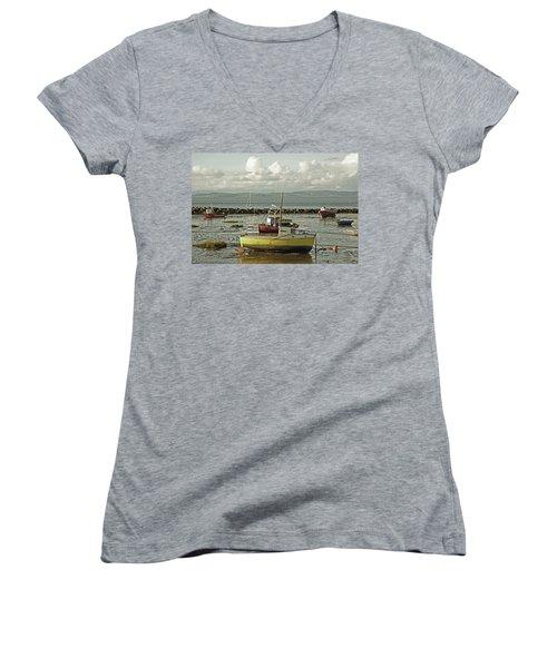 Morecambe. Boats On The Shore. Women's V-Neck