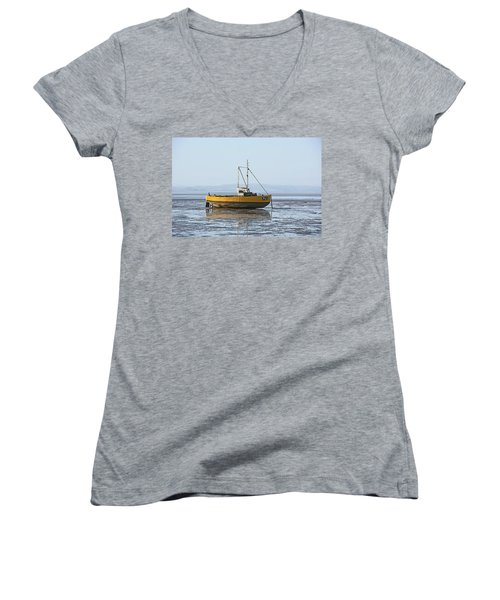 Morecambe. Yellow Fishing Boat. Women's V-Neck