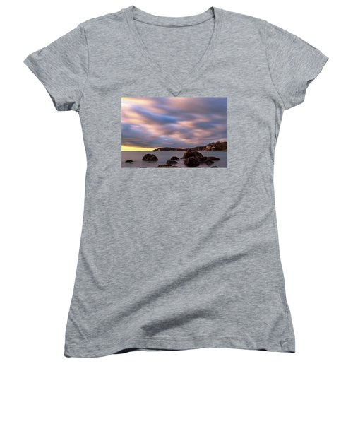 Women's V-Neck featuring the photograph Morning Glow, Stage Fort Park. Gloucester Ma. by Michael Hubley