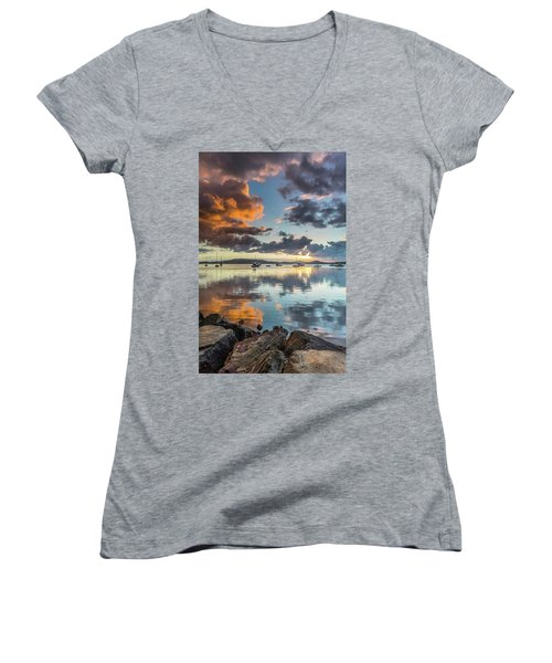 Morning Reflections Waterscape Women's V-Neck