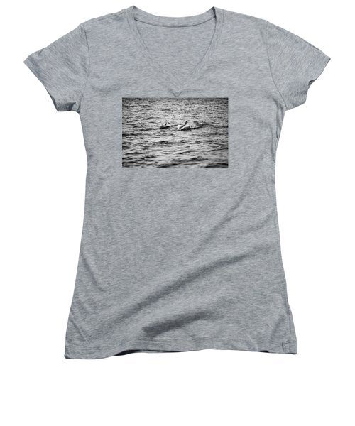 Mother Dolphin And Calf Swimming In Moreton Bay. Black And White Women's V-Neck