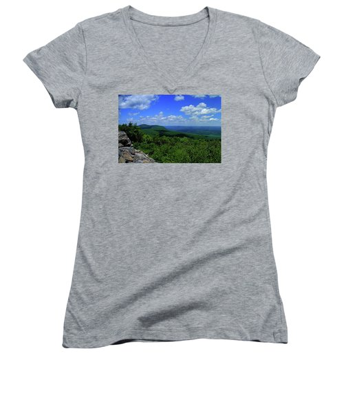 Women's V-Neck (Athletic Fit) featuring the photograph Mount Everett And Mount Race From The Summit Of Bear Mountain In Connecticut by Raymond Salani III