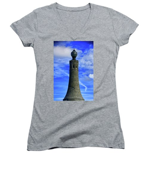 Women's V-Neck (Athletic Fit) featuring the photograph Mount Greylock Tower With Clouds by Raymond Salani III