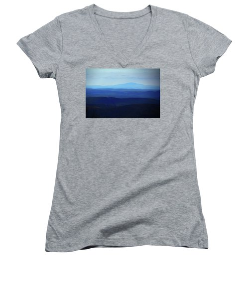 Women's V-Neck (Athletic Fit) featuring the photograph Mount Monadnock From Mount Greylock by Raymond Salani III
