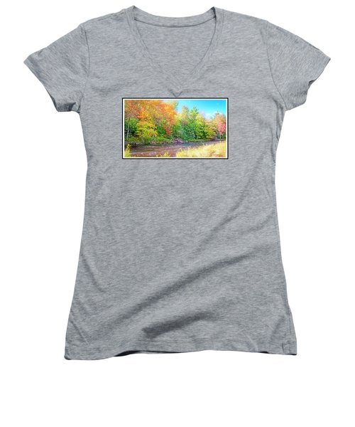 Mountain Stream In Early Autumn Women's V-Neck