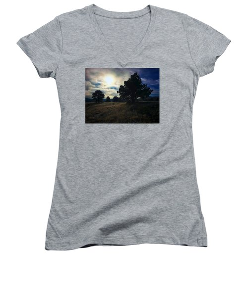 Women's V-Neck featuring the photograph Murky Atmosphere Elk Meadow by Dan Miller