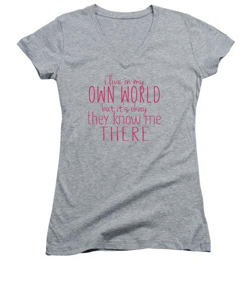 My Own World Women's V-Neck