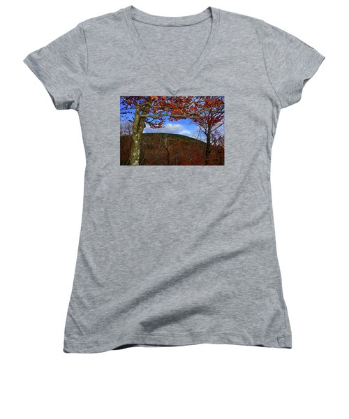 Women's V-Neck (Athletic Fit) featuring the photograph Nature Frames Mount Greylock's Tower by Raymond Salani III