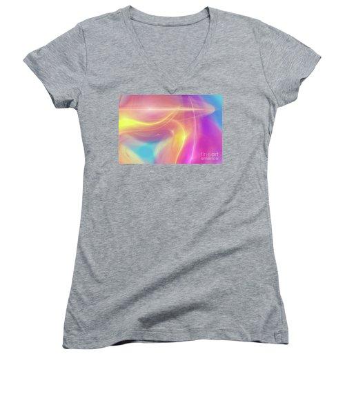 Neon Light  Cosmic Rays Women's V-Neck