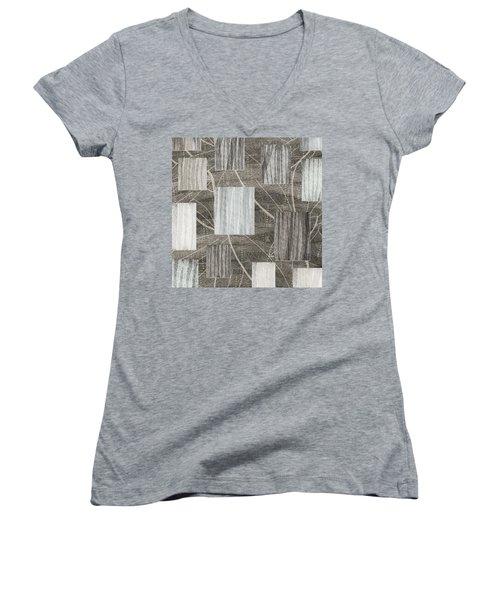 Neutral Leaf Print Squares Cream Women's V-Neck