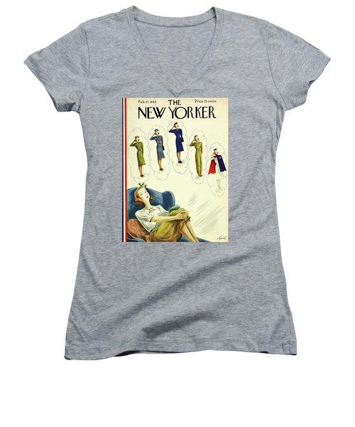 New Yorker February 27, 1943 Women's V-Neck