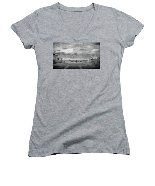 Women's V-Neck featuring the photograph No Vehicles by Steve Stanger