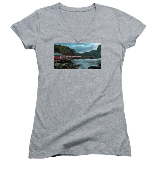 Norway Panoramic View Of Lofoten Islands In Norway With Sunset Scenic Women's V-Neck