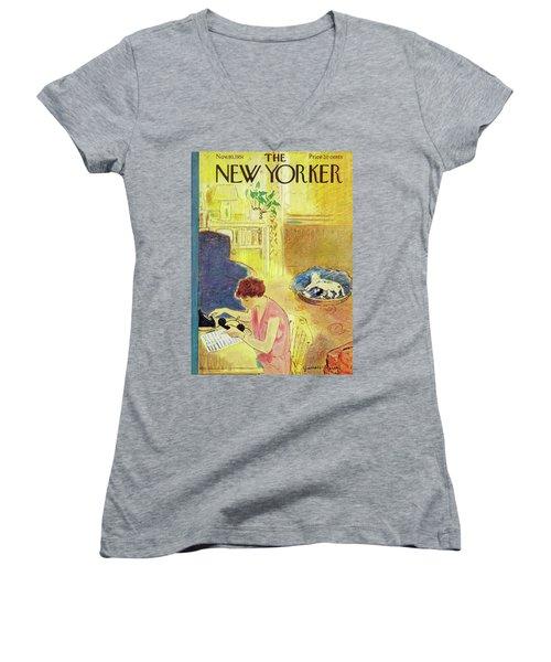 New Yorker November 10, 1951 Women's V-Neck