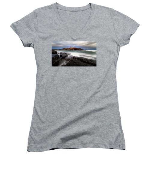 Women's V-Neck featuring the photograph  Nubble Lighthouse, York Me. by Michael Hubley