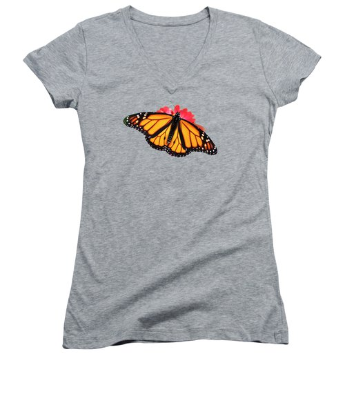 Women's V-Neck featuring the photograph Orange Drift Monarch Butterfly by Christina Rollo