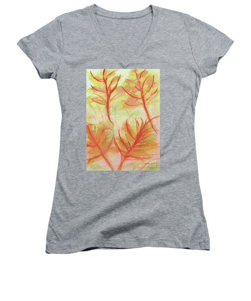 Orange Fanciful Leaves Women's V-Neck