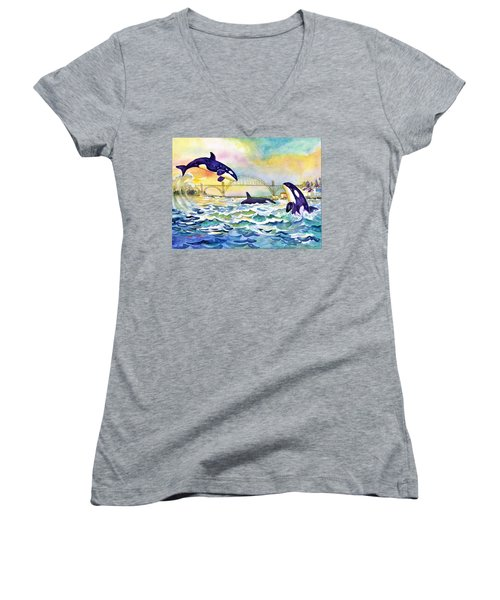 Orcas In Yaquina Bay Women's V-Neck