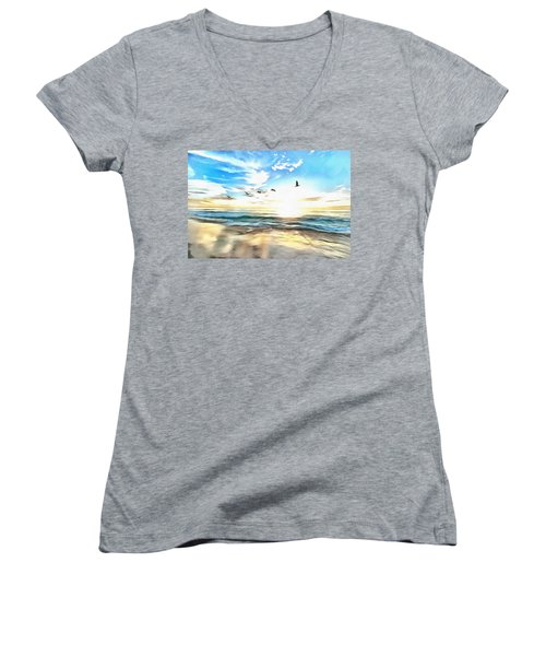 Women's V-Neck featuring the painting Outer Banks by Harry Warrick