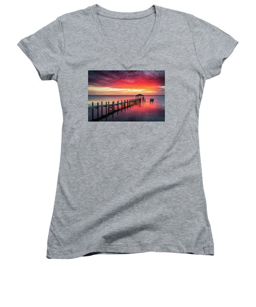 Outer Banks North Carolina Sunset Seascape Photography Duck Nc Women's V-Neck