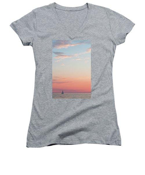 Outer Banks Sailboat Sunset Women's V-Neck