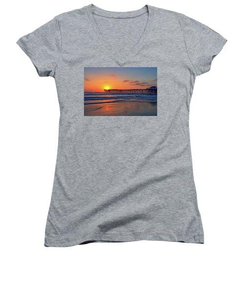 Pacific Beach Pier Sunset Women's V-Neck