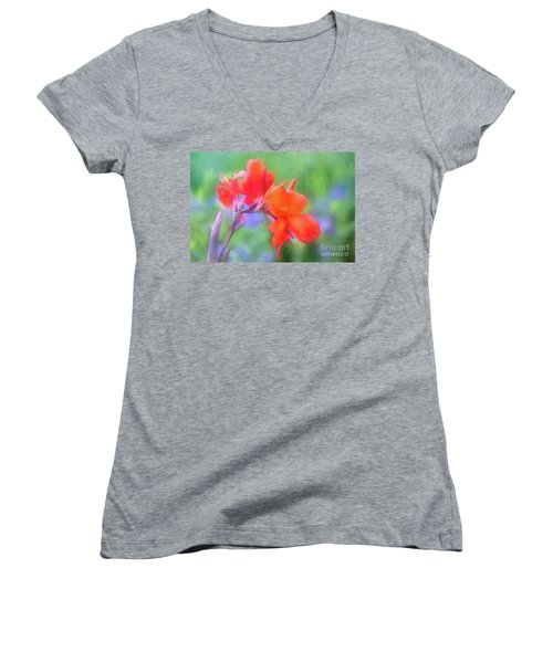Painted Canna In The Evening Light Women's V-Neck