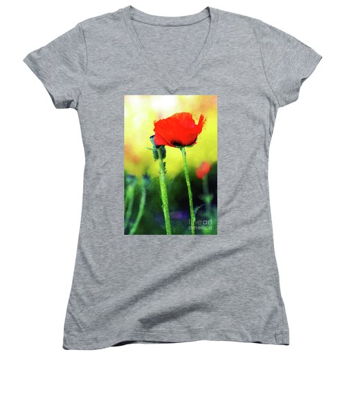 Painted Poppy Abstract Women's V-Neck